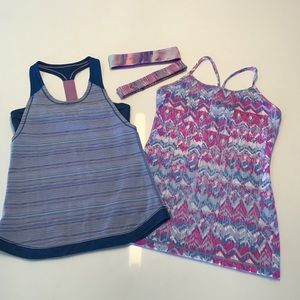 Bundle of two Ivivva tanks & headbands sz 14